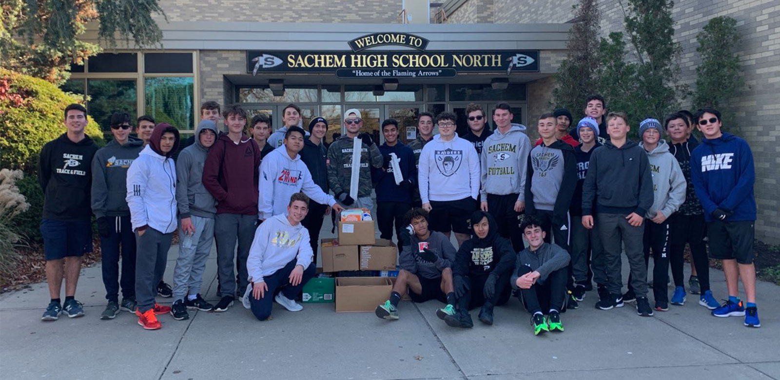 Sachem North Boys Track Runs for Food Drive